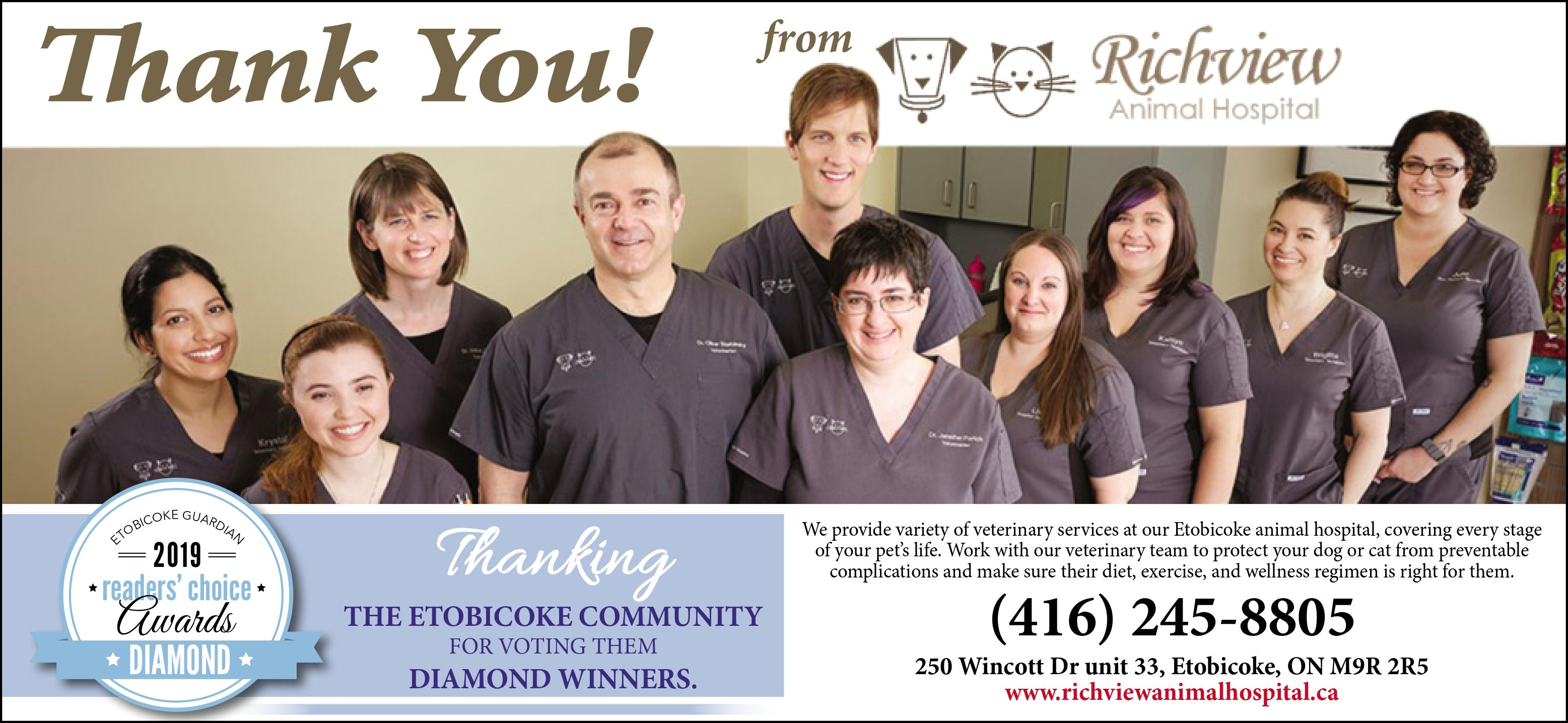 Diamond Winners Richview Animal Hospital